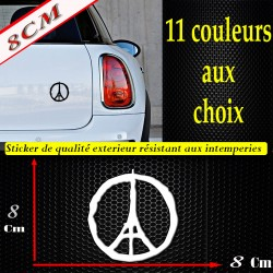 Sticker autocollant peace paris peace for paris je suis paris pray for paris (8 cm)