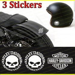 3 stickers autocollant  skull Harley davidson