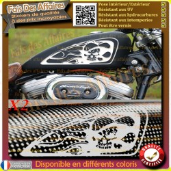 2 stickers autocollant skull tribal réservoir moto