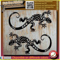 2 stickers autocollant gecko salamandre lézard maori tribal sticker deco