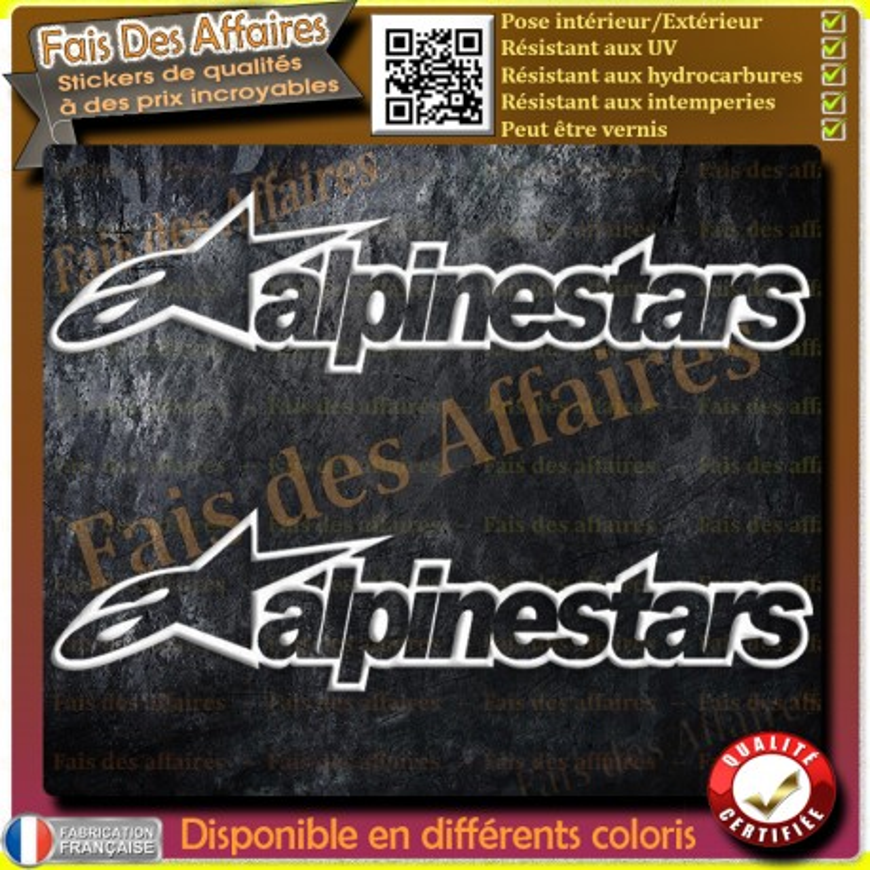 2 stickers autocollant  alpinestars