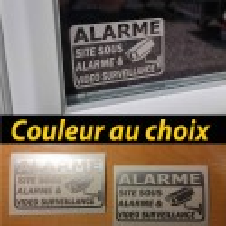 2 stickers autocollant alarme vidéo surveillance site sous protection