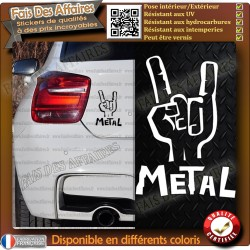 sticker autocollant main metal rock heavy corne diable acdc metallica musique