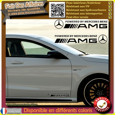 2 Stickers Autocollant powered by mercedes-benz amg