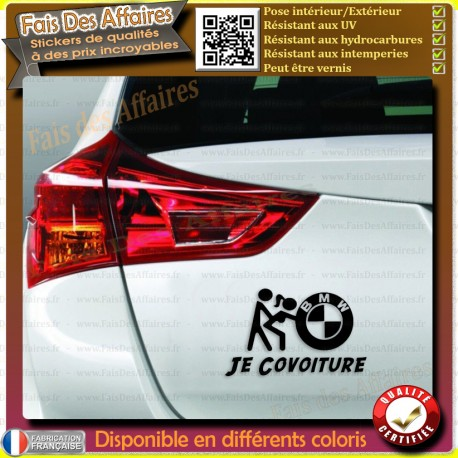 Stickers Autocollant bmw covoiturage humour je covoiture