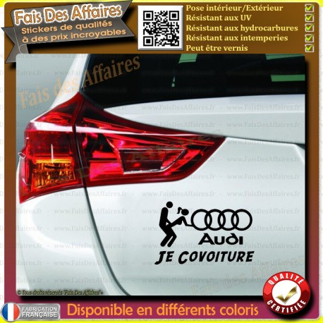 Stickers Autocollant audi covoiturage humour je covoiture