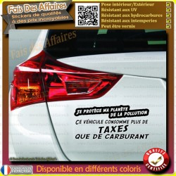 Sticker Autocollant humour trop de taxes pollution Ecologie carburant gasoil  essence
