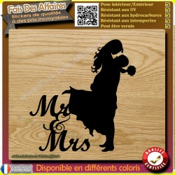 Sticker autocollant Mariage Mr & Mrs