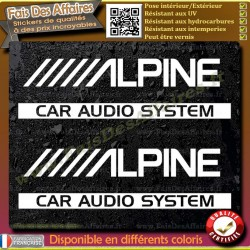 2 Stickers Autocollant alpine car audio system