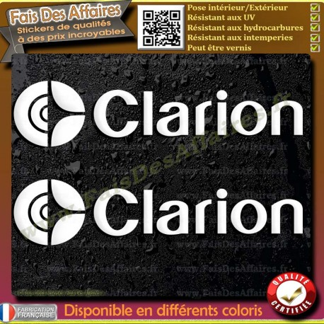 2 Stickers Autocollant Clarion car audio system