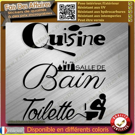 lot 3 Stickers autocollant Cuisine, Salle de Bain ,Toilette