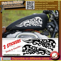 lot 2 stickers autocollant skull tribal motorcycle flamme