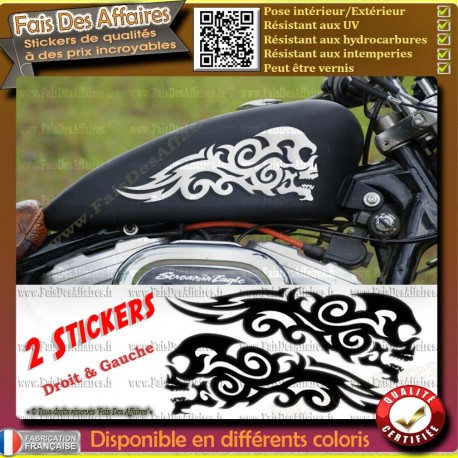 ot 2 stickers autocollant skull tribal motorcycle flamme