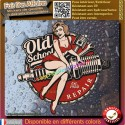 Sticker autocollant pin-up old school bougie piston pin up pinup bobber harley