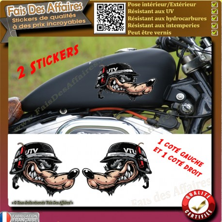 Stickers Autocollant loup motard guerrier harley bobber moto custom wolf decal