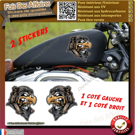 2 Stickers Autocollant aigle motard guerrier harley bobber moto custom sportive