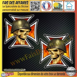 2 Stickers Autocollant skull croix de malt biker
